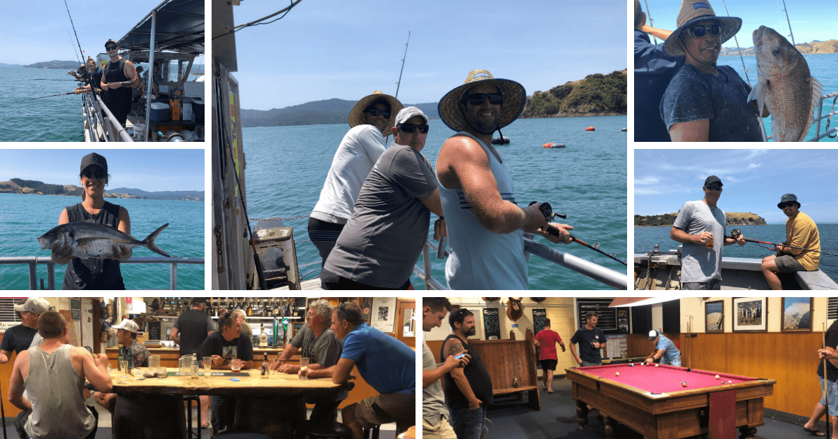 collage of JT Plumbing team on fishing trip